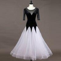 New Ballroom Dance Dresses Women Dress Dance Waltz Dress White Bouffant Skirt Hem Tango Dress Performance Ballroom Dress VDB596