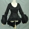 Spring women Ruffled embroidery shirts Vintage Victorian Swallowtail jacket Ladies gothic blouse lolita costume