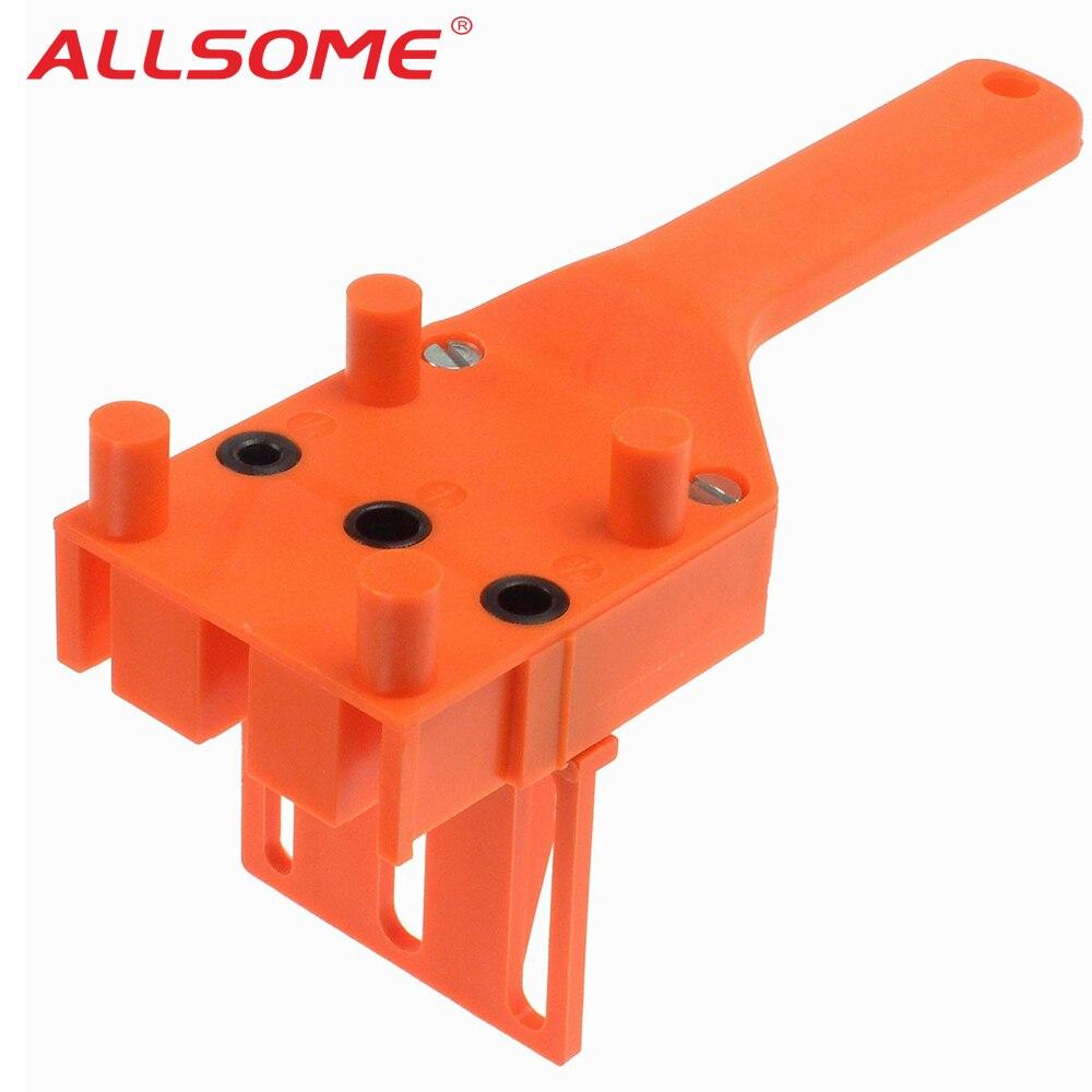 ALLSOME Holzbearbeitung Dübel Jig 6 8 10mm Bohrer Guide Metall Hülse Handheld Holz Doweling Loch Bohrer HT2514