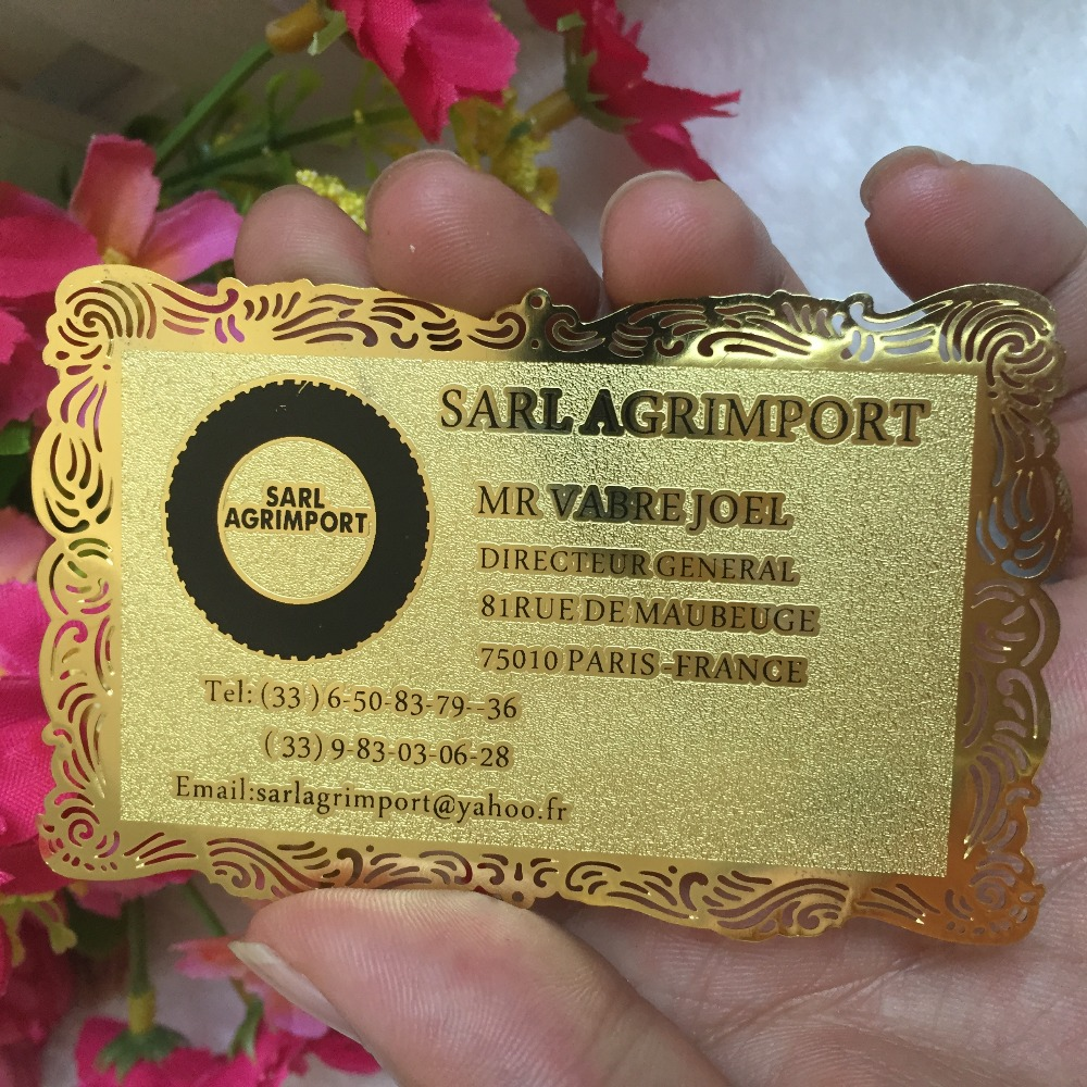 custom golden fancy borders Metal Business Card printing customized personal Visit vip Card best quality for