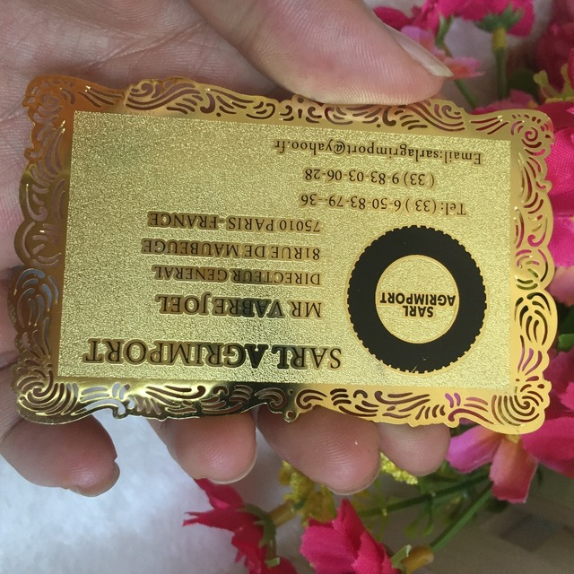 Custom golden fancy borders metal business card printing customized custom golden fancy borders metal business card printing customized personal visitvip card best quality colourmoves