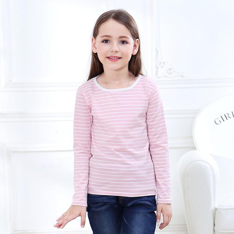 2-12 Yrs Kids Cotton Long Sleeve T Shirts Striped Boys Girls Basic Tops Tees Children Autumn Clothes T-shirt Sweatshirt 2
