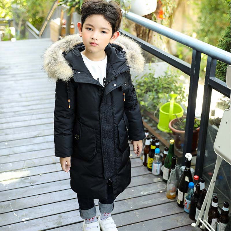 Teenagers Boys Winter Down Jacket 2017 New Brand Big Kids Long Duck Down Coat Children Thick Warm Hooded Outerwear High Quality hh kids winter jacket thick duck down boy natural hair collar hooded long coat girl parkas russia jacket children outerwear