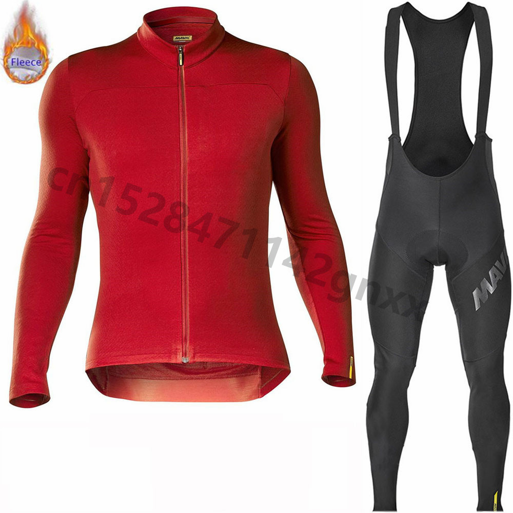 Ropa Ciclismo 2019 Mavic Red Winter Thermal Fleece Cycling Jersey Men Long Sleeve Set Outdoor Sport MTB Bike Clothing Bib Pants
