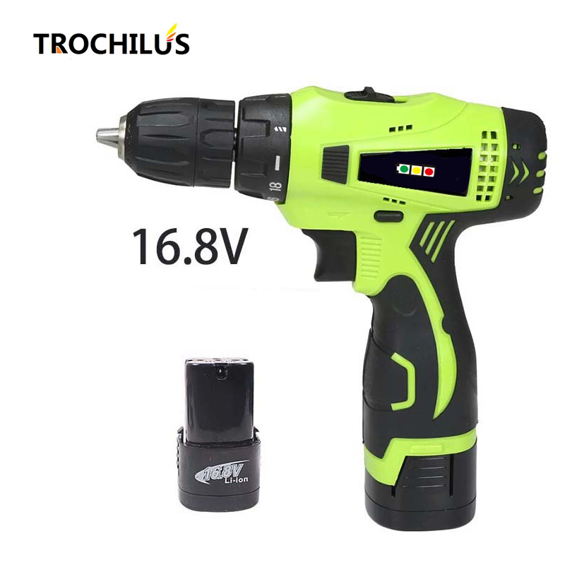 16.8V Cordless Drill Multi - function Power Tools Miniature Rechargeable Electric Drill Screwdriver with Lithium Battery * 2