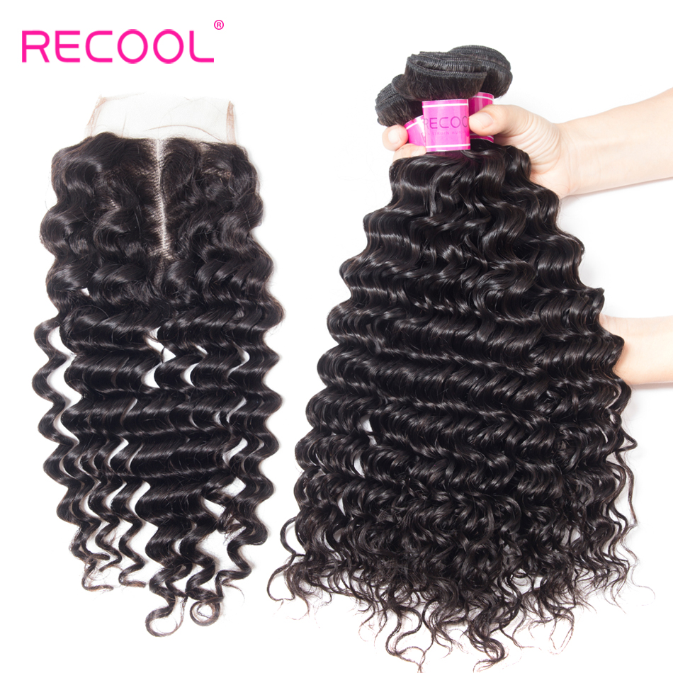 Recool Hair Brazilian Hair Weave Bundles With Closure 100 Human Hair Bundles 4 pcs Remy Hair