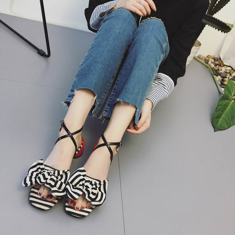 2017 New Arrival Summer Casual Shoes Women Leisure Sandals Striped Fashion Lady Med Heel Shoes Leisure Bow Peep Toe Buckle Black enmayer print wedge sandals new fashion pu women high heel sandals for women casual shoes bow summer shoes women big bohemia