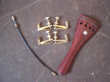 1 PC Rose wood Tail piece with 4 PCs Gold color Fine tuner& Tail gut all 4/4