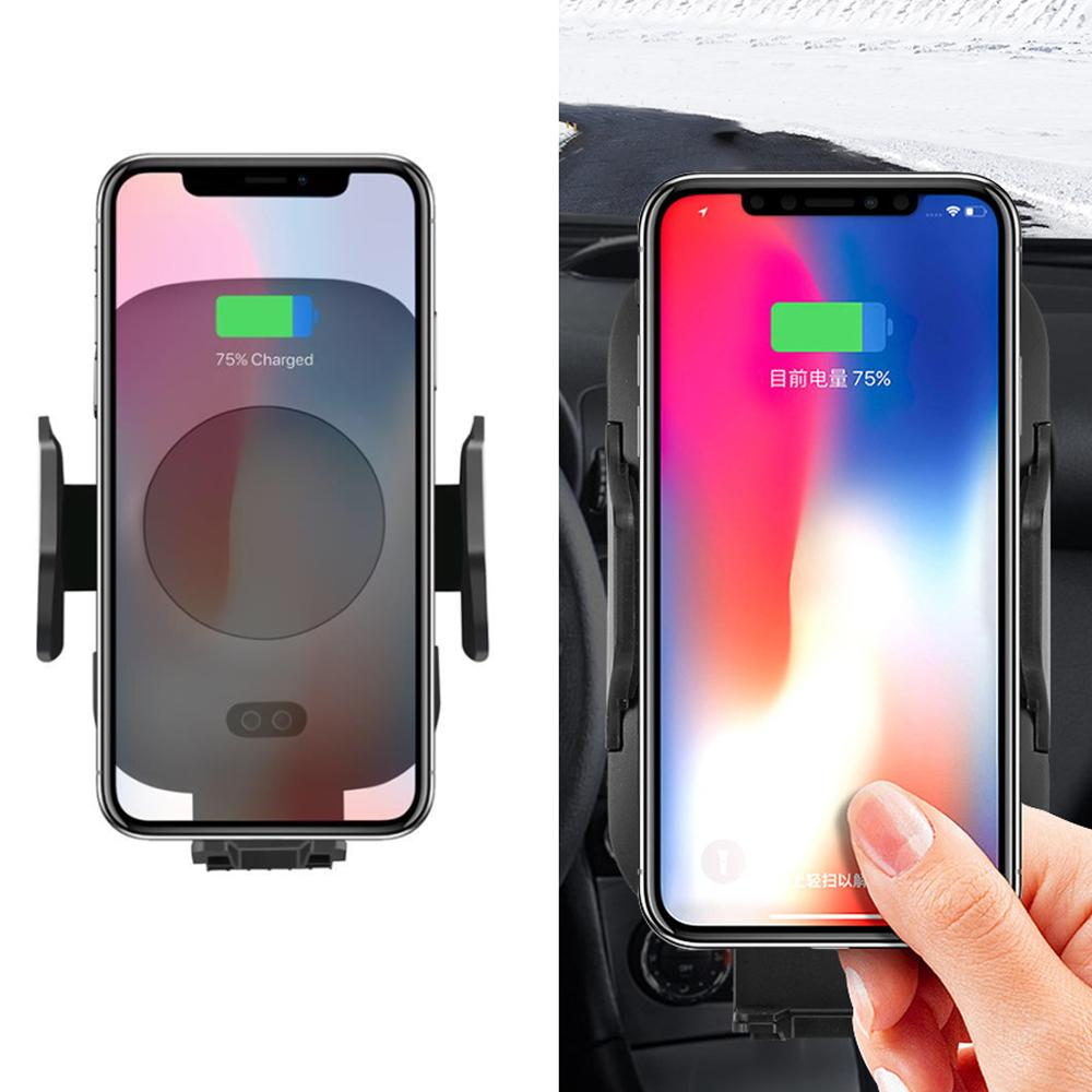 Car Wireless Charger Infrared Sensor Automatic Mobile Phone Holder C10 C9 Quick QI Car Charger For IPhone Samsung Huawei ZTE in Mobile Phone Chargers from Cellphones Telecommunications