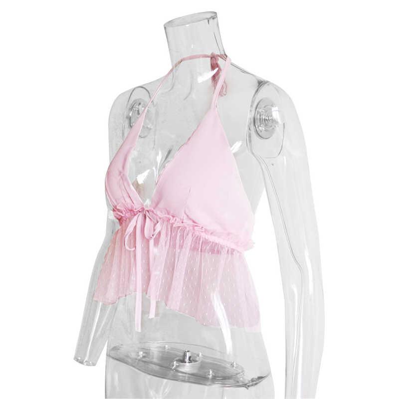 Vrouw Zomer Sexy V-hals Crop Tank Top Effen Kleur Strapless Backless Korte Mouwen Vest Casual Vrouwelijke Kleding Hemdje