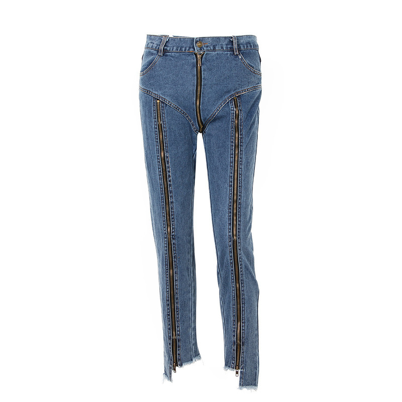 2019 Korean Version of The New Multi-zipper Design Irregular Nine Points Pencil Pants Sexy High-waisted Jeans Women Trousers