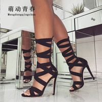 New Europe Band Women High Heels Shoes Open Toe Stretch Fabric Gladiator Sandals Mid calf Hollow Out Party Nightclub Women Pumps
