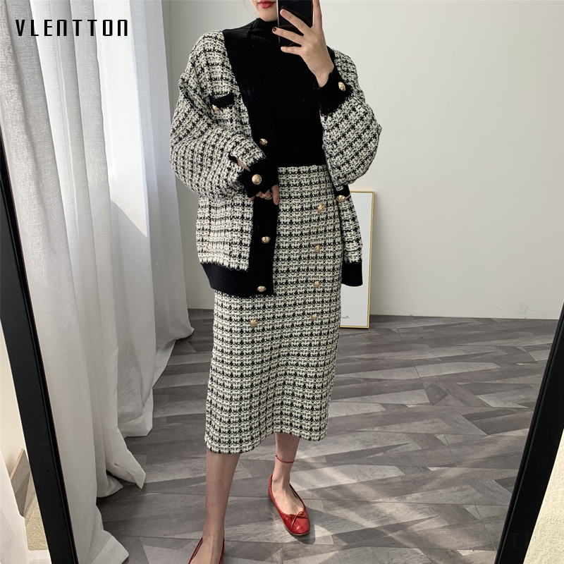 2019 Spring Autumn New Tweed Women's Skirt Elegant Office Double Breasted Plaid Knitted Vintage Package Hip Midi Skirt Female