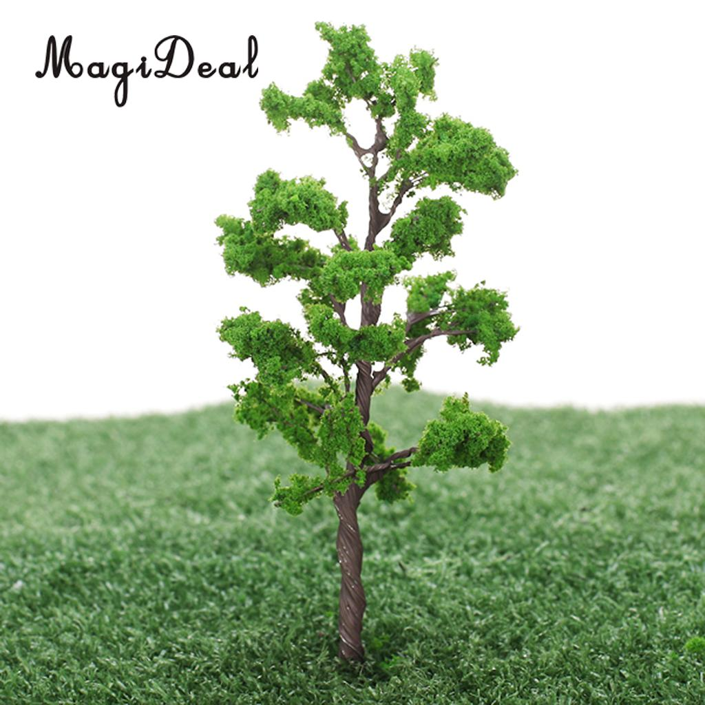 MagiDeal 5Pcs/Pack 1/75 Scale 12cm Train Track Model Trees Green for Street Railway Park Garden Layout Landscape Scenery Scene
