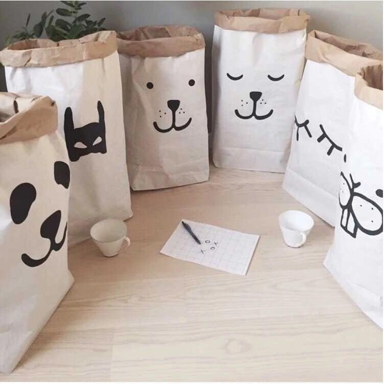 Kraft paper Tubbiness can standing INS toy collection storage bag pouch Laundry Pocket Children room Christmas Birthday Gift