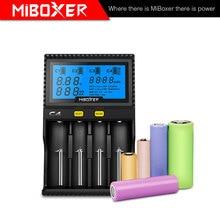 Новые miboxer C4 ЖК-дисплей Smart Батарея Зарядное устройство для литий-ионных IMR ICR LiFePO4 18650 14500 26650 21700 батарейки ААА 100-800 мАч 1.5A