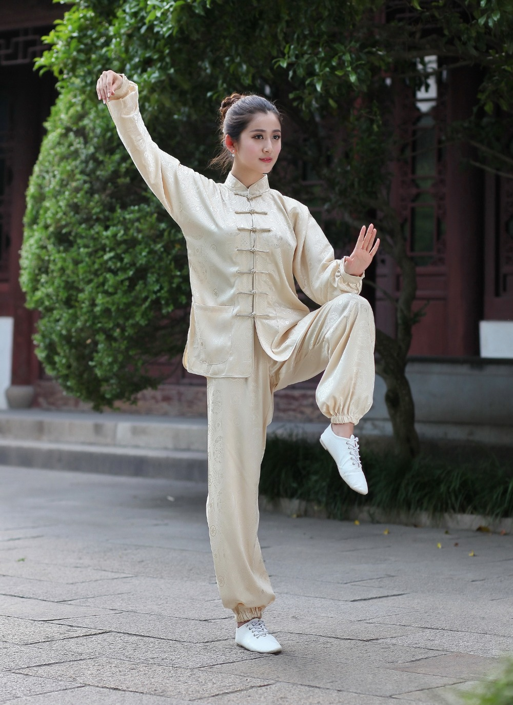 9788bba3f3 Aliexpress.com   Buy Plus Size XXXL Beige Chinese Style Lady Tai Chi Suit  Women s Satin Kung Fu Uniform Long Sleeve Clothing 2526 2 from Reliable art  stamp ...