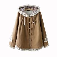 2017 Autumn Coat Loose Hollow Out Cotton Wool Lace Batwing Sleeve Large Size Single Breasted Mori Girl New Warm Jacket