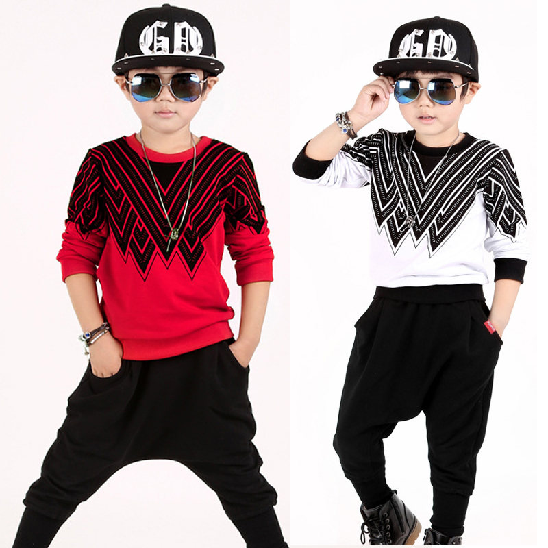 bibihou 3-12 years boys set long sleeved korean kids clothes new summer children cotton casual T-shirt big Hip-hop boy clothes