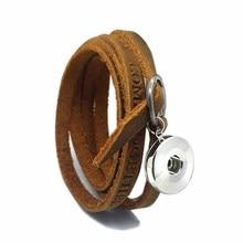 Wholesale 102 Multi-turn Original Genuine Leather Retro fashion Bracelet 18mm Snap Button Charm Jewelry For Women Men 100cm