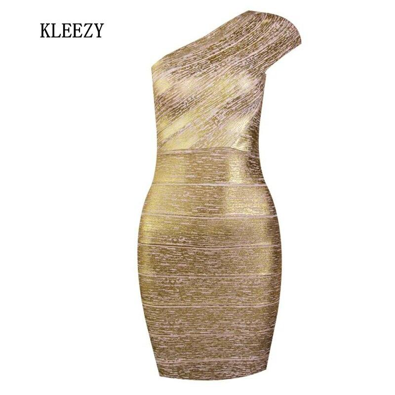 Top Quality  Bandage Knitted Dress Women Celebrity One Shoulder Gilding Elegant Bandage Evening Party Club Dress H847
