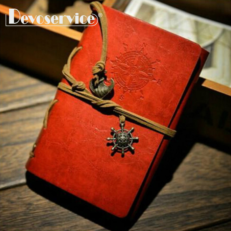 1 Pcs Faux Leather Multicolor Notebooks and Journals Spiral Bound - Kraft Paper Traveler Notepad Red/Green/Brown Daily Memo Pad