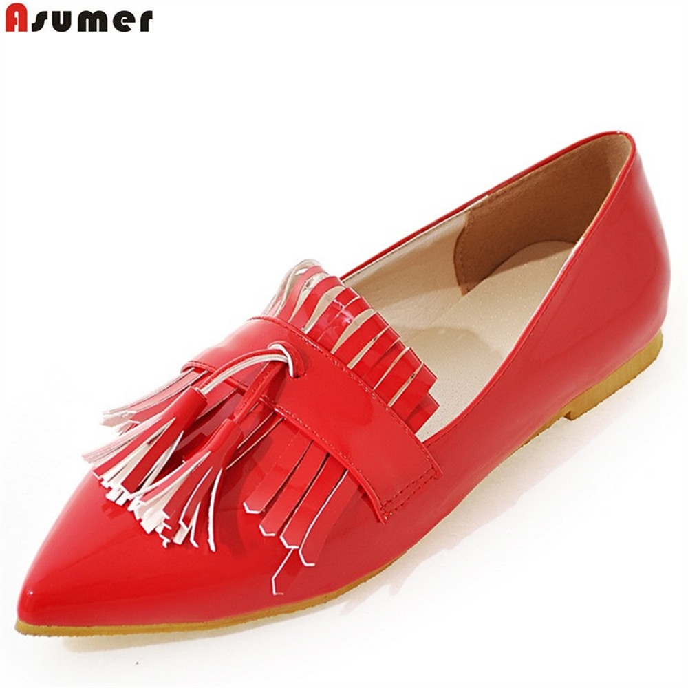 ASUMER black red fashion spring autumn flat shoes woman pointed toe casual single shoes big size 33-43 women flats hot sale 2016 new fashion spring women flats black shoes ladies pointed toe slip on flat women s shoes size 33 43