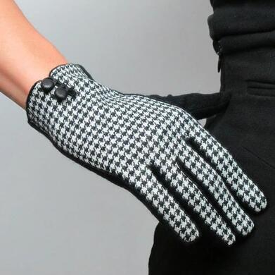 Women's Autumn Winter Small Plaid Checked Cashmere Glove Lady's Fashion Elegant Woolen Driving Glove R625