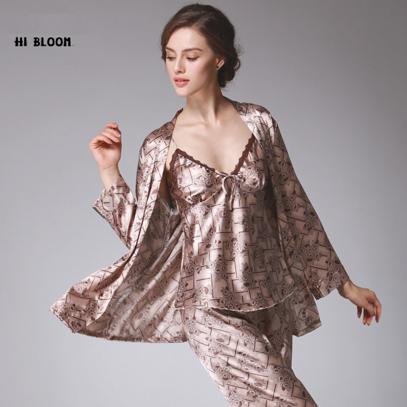 HI BLOOM 2017 Silk Kimono Robe Bathrobe Women Satin 2Pcs Robe Longue Femme For Women Night Sexy Robes Night Grow For Bridesmaid citizen 2 femme jamis