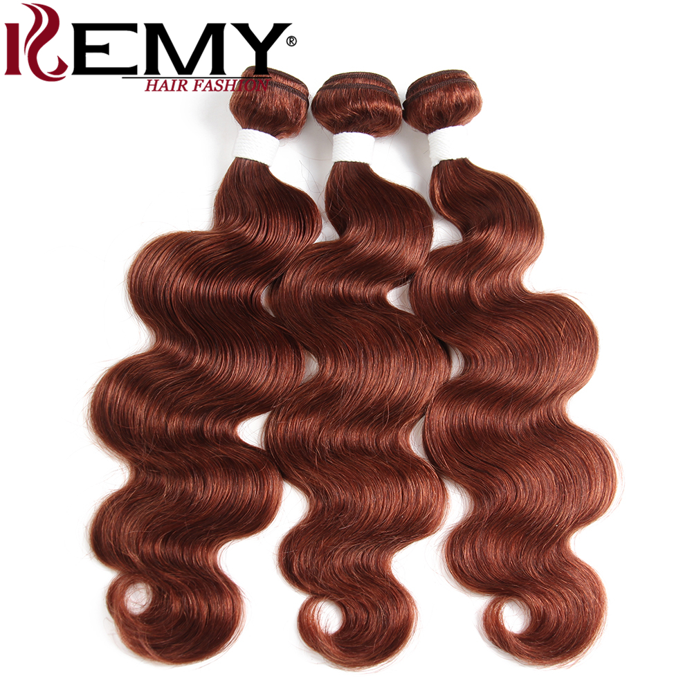 Brown Auburn 33# Brazilian Body Wave Human Hair Bundles KEMY HAIR Pre-Colored Non-Remy Human Hair Weaving Extension 2/3Pcs/Pack