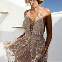 2017 New Arrivals Sexy Dresses Women Backless Halter Black Gold Mini Dress Party Tassel Summer Dress