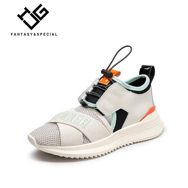c9f100b0e17521 IGU Mesh Women s Platform Chunky Sneakers Genuine Leather Women Flat Thick  Sole Shoes Brand Breathable Buty