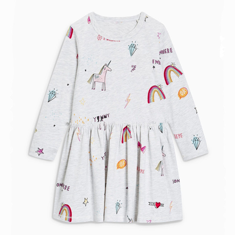 princess unicorns brand baby girl dress print autumn spring hot selling children clothes pockets dresses kids girls in Dresses from Mother Kids