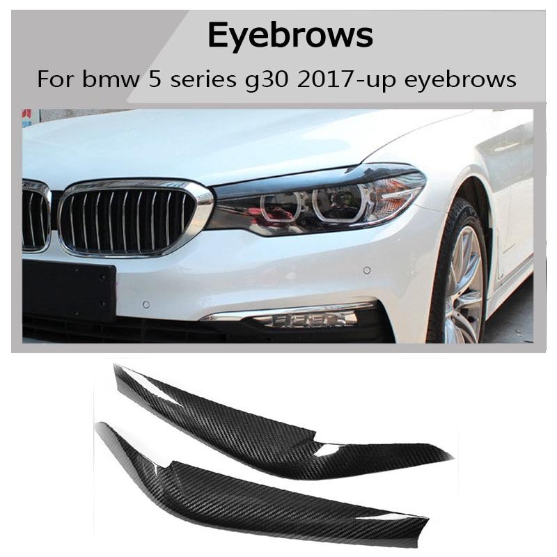 G30 Carbon Fiber Headlight Eyelids Eyebrows Covers Trim For BMW 5 Series G30 Sedan 2017 +
