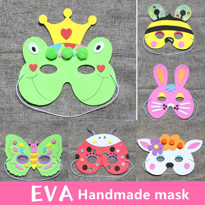 6PCS EVA Children's Cartoon Mask DIY Animal Mask Material Package Educational Handicraft Of Kindergarten Intellectual Toys