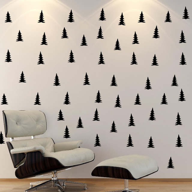 PEEL & STICK Pine Tree Patterned Wall Decal,Black Tree school office ...