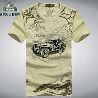 AFS Jeep de algodón de verano transpirable de manga corta militar Casual 3D camiseta táctica Camisetas hombre de talla grande 3XL