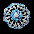 2.2 Inch Silver Plated Two Tone Blue Rhinestone Crystal Large Flower Bridal Bouquet Brooch Party Pin