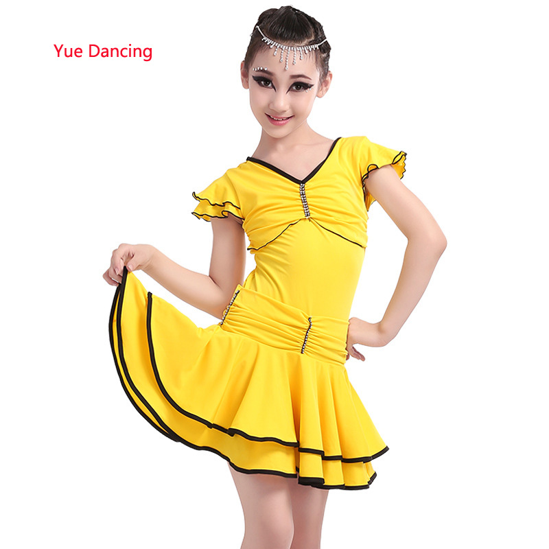 4-15Y Girls Red/Blue/Yellow Ballroom Dancing Disfraz Infantil Latin Dress Children Kids V-neck Diamond Competition Costume Wear