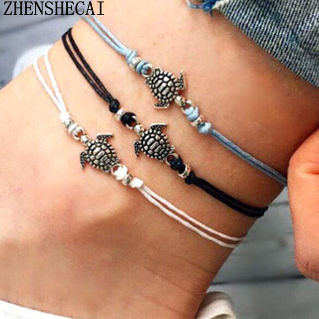 Vintage style owl bracelet summer beach jewelry Ankle black/white/blue colors simple design rope chain Ankle for women ns37