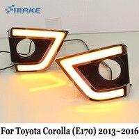 SMRKE DRL For Toyota Corolla E170 2013~2016 / Car Daytime Running Light & Cornering Lamp / 3 Color Car Styling Fog Lamp Frame