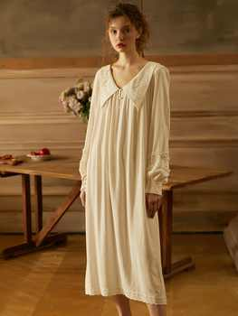 Spring Summer White Cotton Embroidery Sleepwear Long Sleeve Elegant Female Royal Princess Long Nightgowns Loose Plus Nightdress - DISCOUNT ITEM  38% OFF All Category