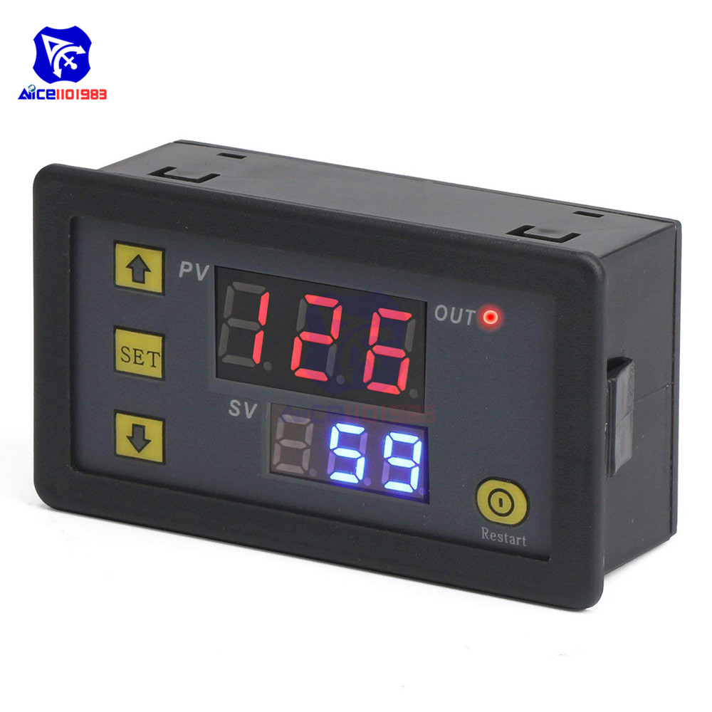 <font><b>12V</b></font> 24V <font><b>220V</b></font> Digital Cycle Timer Delay Relay Board <font><b>Module</b></font> with Dual LED Digit Display Timing Delay Relay Switch for Vehicle Car image