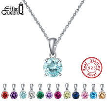 Effie Queen Real 925 Sterling Silver Pendant Necklace Lucky Birthstone Multi Color Zircons Stud Necklaces Women Jewelry BN118(China)