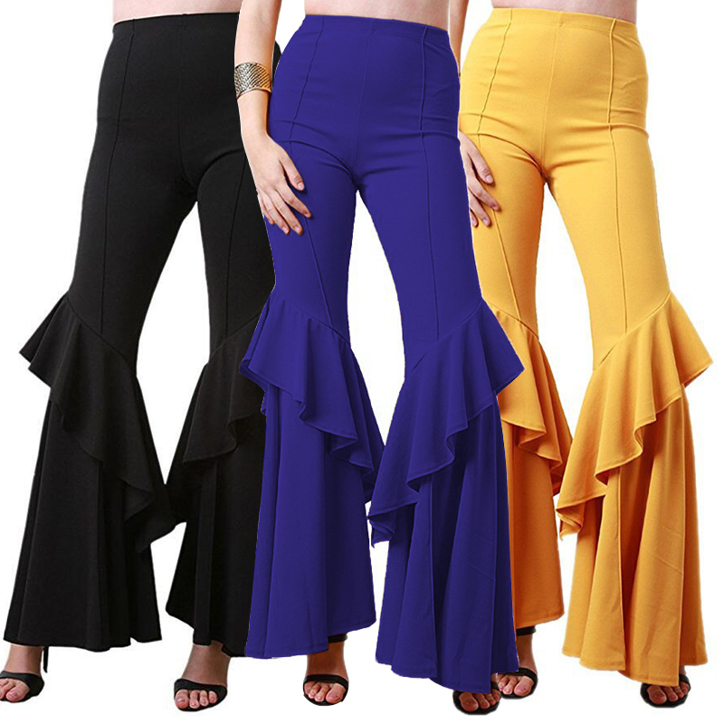 Autumn 2018 Trousers Women High Waist Black White   Pants   Flare   Pants   Woman   Wide     Leg     Pants   Female Big Size Pantalon Femme Mujer