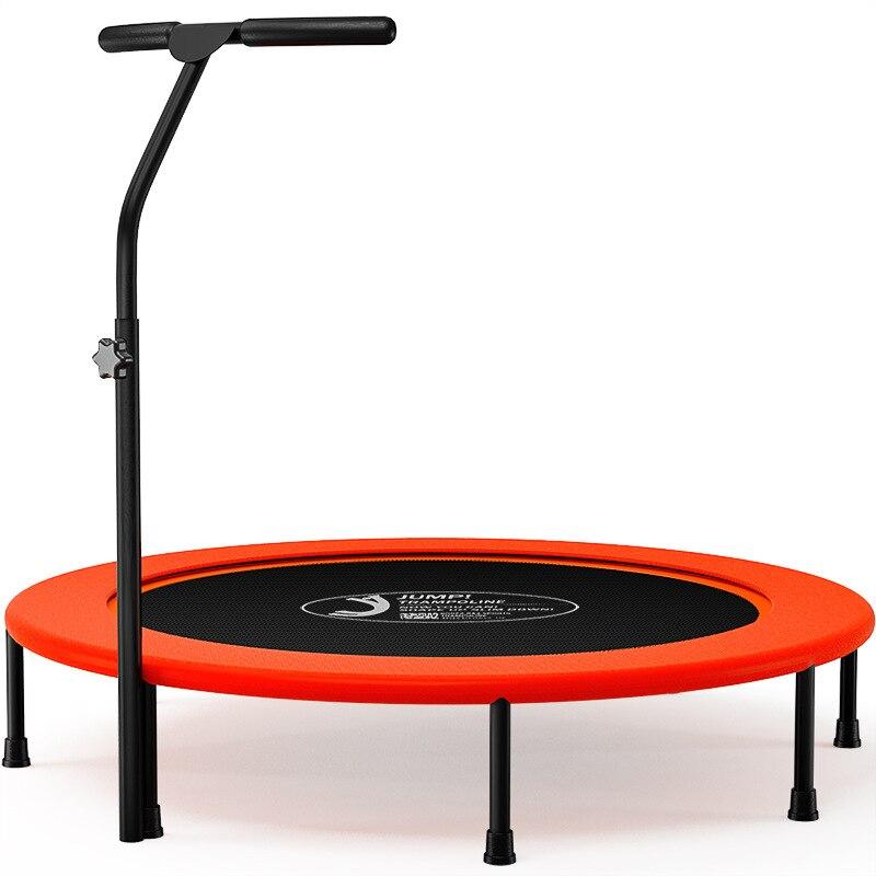 Trampoline de Fitness professionnel pliable Portable rond muet de 48 pouces avec main courante pour salle de sport intérieure saut Sports adultes enfant