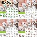 BlueZoo 12 Листов Watermark Ногтей Наклейки Прекрасный Мультфильм Ногтей Обертывания Наклейки Переброска воды DIY Nail Art Симпатичные Маникюр Наклейки