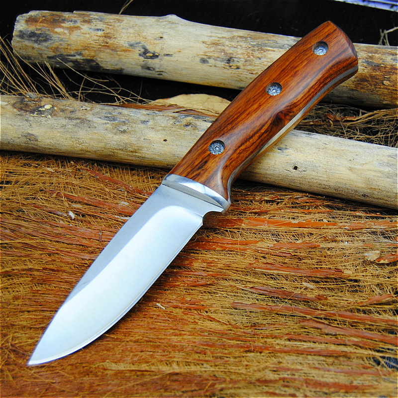 High Quality hunting knifes wood handle camping survival tactical fixed knife north american hunting Straight knife(China)