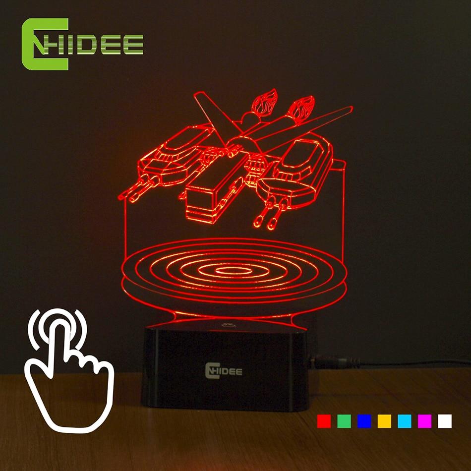Touch Сенсор 7 цветов свет в ночь черного Hawk Звездные войны 3D лампы как домашний Освещение стол Lampara творческие подарки для друзей