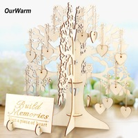 OurWarm Rustic Wedding Table Decoration Guest Visit Signature Tree Guest Book Wooden Hearts Ornaments DIY Wedding Party Decor
